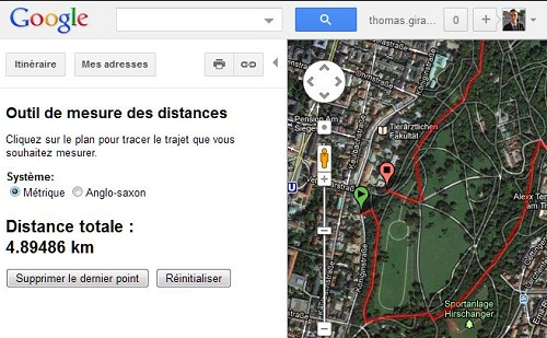 google map mesure de distance